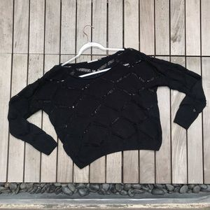 MUSTARD SEED Black Crochet Knit Crew Neck Sweater